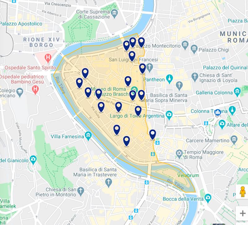Mapa hospedaje Roma