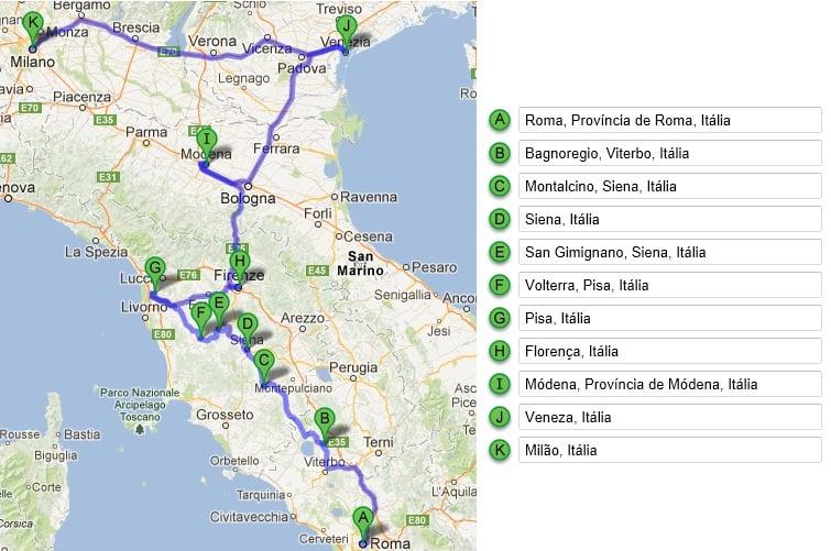 Itinerario en coche por el norte de Italia