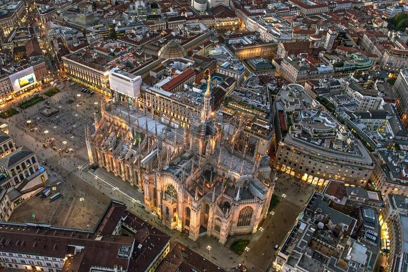 Centro de Milán visto desde arriba