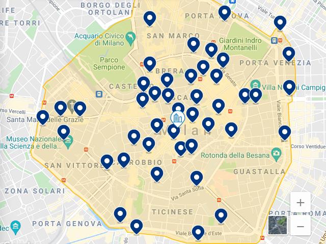 Mapa de la mejor región de Milán para hospedarse