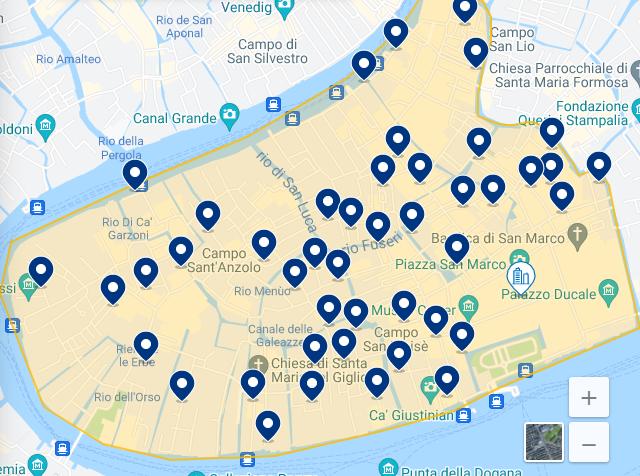 Mapa de la mejor región de Venecia