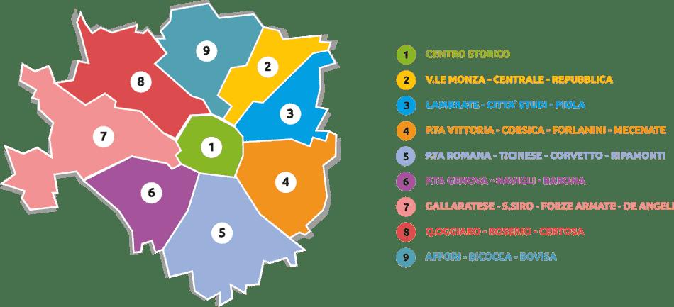 Mapa de los barrios de Milán