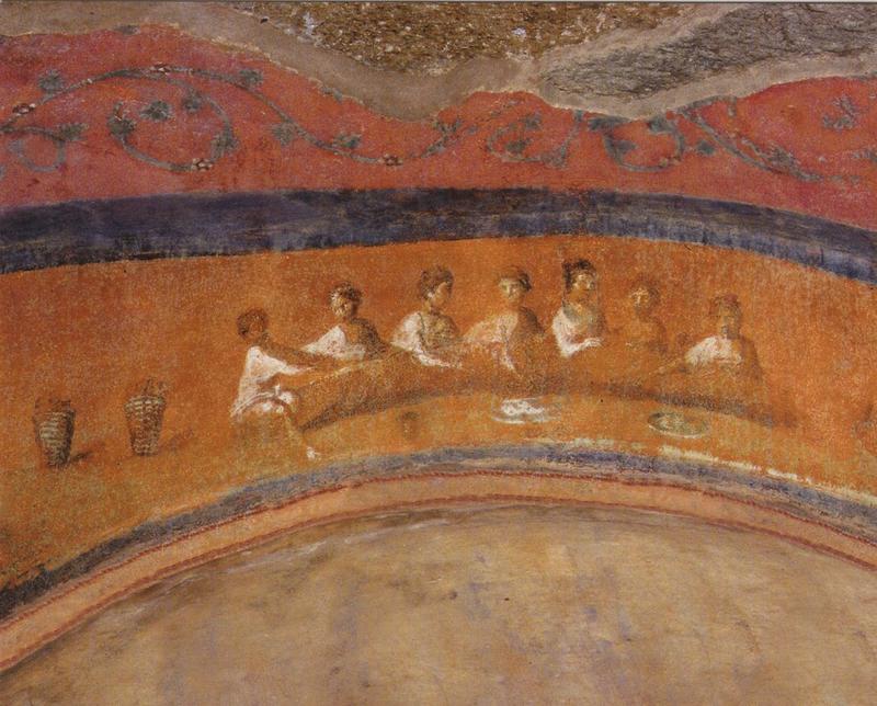 Pinturas en la Catacumba de Priscila en Roma
