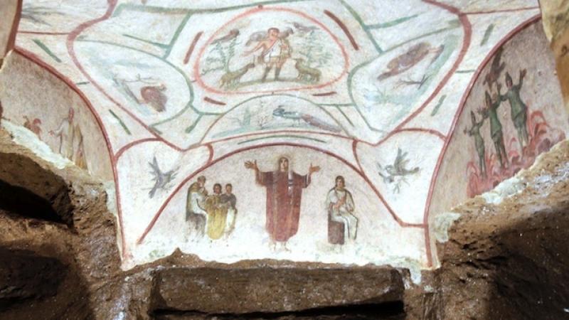 Arte en la catacumba de Priscila en Roma