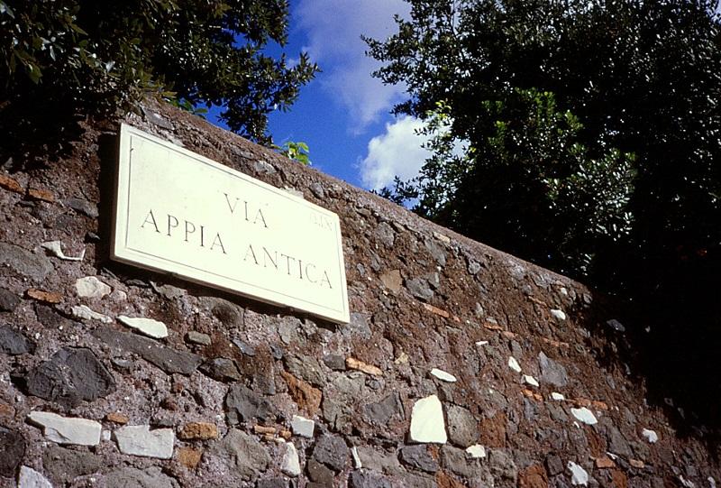Placa de la Vía Apia en Roma